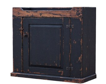 Primitive rustic dry sink cabinet farmhouse country furniture painted old distressed black reproduction cupboard  Early American decor