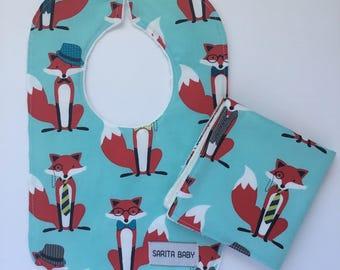Baby Boy Shower Gift Set - Baby Bib - Baby Washcloth - Fox in Blue Bib - Washcloth - Gift for baby - Boy Bib - Baby Gift