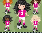 Soccer clipart. Sport graphics, girls soccer player characters, planner stickers, commercial use, kids, scrapbooking, embroidery, chores