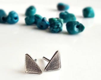 Oxidized Sterling Silver Triangle Studs, Boho Style, Minimalist, Women's Post Earrings, Mens Studs, Industrial Earrings, Little Mountains