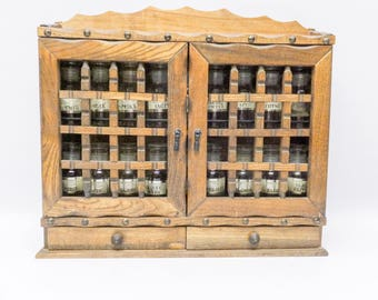 Beautiful wood spice rack - with full set of bottles and stickers