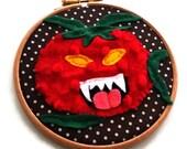 Custom Hoop Art-Terrible Tomato-Wall Art-Family Portrait-Horror Fan Gift-Living Room Decor-Made to Order-Horror Movie-Halloween Gift-Spooky