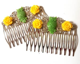 Lemon Lime Owl Hair Combs Birds Woodland Regency Shabby Chic Hot Neon Pink Trendy Cotton Candy Cottage Not Steampunk Whimsicle wedding prom