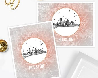 Houston, Texas - United States - Instant Download Printable Art - Vintage City Skyline Map Series