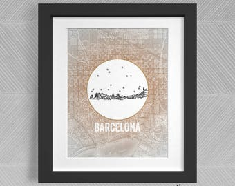 Barcelona, Spain - Europe - Instant Download Printable Art - Vintage City Skyline Map Series