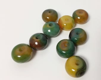 Green and Yellow Agate Large Rondelle Beads - set of 9 - Distinctive Grass Green and Honey Hue with Banding - 13 mm