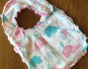 NEW...Elephant Minky Baby/Toddler Bib
