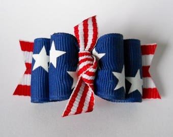 "Dog Bows- 7/8"" 4th Of July Stars and Stripes Knot Dog Bow"