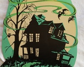 Vintage Halloween Paper Decoration, GREEN Haunted House, Marked Beistle