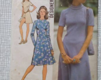"1971 Dress - 36"" Bust - Simplicity 9758 - Vintage Retro Sewing Pattern"