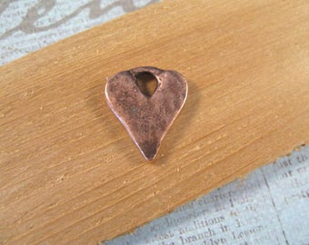 Rustic Hammered Heart Charm with Antique Copper Plating from Nunn Design
