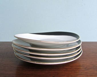 Modern Porcelain -White & Dipped Black- Oblate and Gold Trimmed, Set of 5 Tapas Occasional Dishes