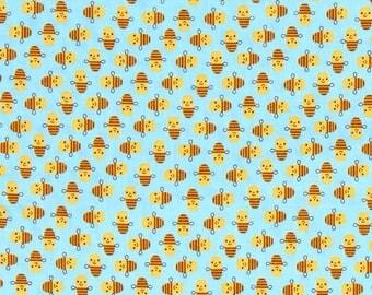One (1) Yard - Suzy Mini's Bee Fabric by Robert Kaufman Fabrics ASD-16325-63 Sky Blue