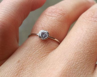Platinum ring with Diamond. Engagement ring. 0.25Ct Diamond ring. Round cut diamond. Bezel setting ring. Simple ring. Solitaire ring.