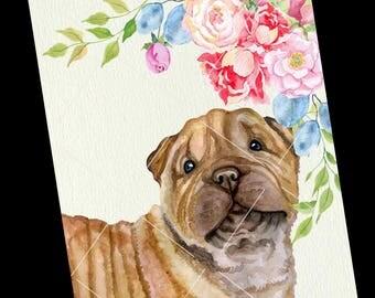Adorable Sharp Pei breed dog Greeting Card.