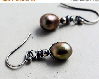 Birthstone Sale Pearl  Drop Earrings,  Freshwater Pearl Dangle Earrings, Sage Green