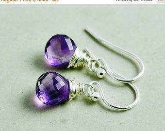Amethyst Drop Earrings, Dangle Earrings, February Birthstone Earrings, Sterling Silver Drop Earrings