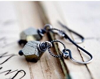 Pyrite Earrings, Dangle Earrings, Drop Earrings, Metallic, Gemstone Jewelry,  Sterling Silver,  Fools Gold PoleStar, Oxidized