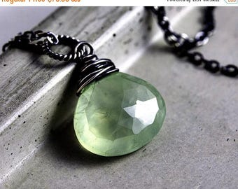 Rivendell Necklace, Prehnite Pendant, Prehnite Necklace, Wire Wrapped, Pastel, Mint Green, Sterling Silver, PoleStar