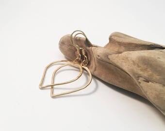 Gold Filled Hammered Petal Earrings - E471GF -handmade wire jewelry by cristysjewelry