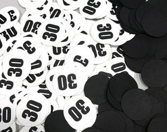 30th Birthday Party Confetti 3/4 Inch Circles - Black and White or Your Choice of Colors
