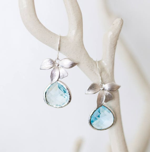 Orchid earrings with Aqua blue glass