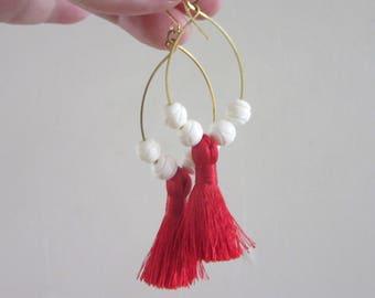 Red Tassel Hoop Earrings with White Bone Beads