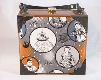 Star Wars The Force Awakens Cigar Box Purse, Rey, Finn, BB-8, Poe Dameron, Box Purse, Handbag, Upcycled La Galera Cigar Box Item 1094
