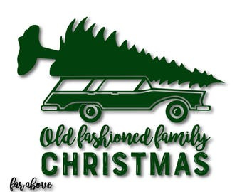 Old Fashioned Family Christmas Station Wagon Tree SVG, EPS, dxf, png, jpg digital cut file for Silhouette or Cricut