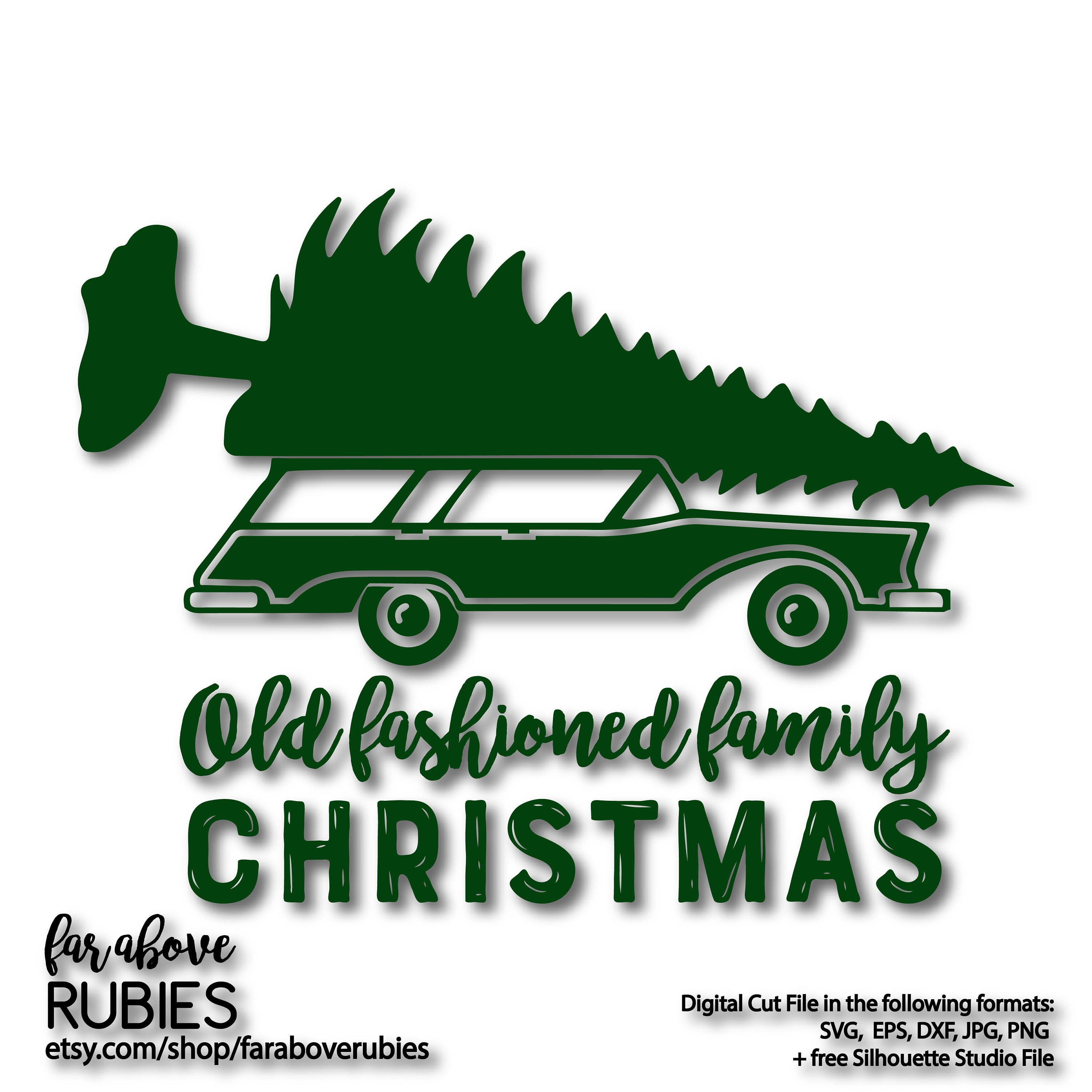 Old Fashioned Family Christmas Station Wagon Tree Svg Eps