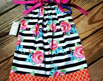 Girls Spring Dress - Pillowcase Dress - Pink and Orange - Roses - Stripes - Toddler Girl Dress  - Beach Dress -  Sundress - Groovy Gurlz