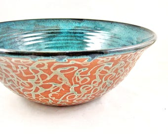 Large serving bowl, pottery bowl, Modern ceramics, blue wedding gift - In stock 177 SB