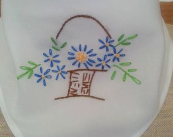 Hand embroidered polyester bandana -blue flowers on white- with or without velcro closure- trach stoma covers