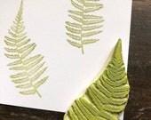 Fern Hand Carved Rubber Stamp