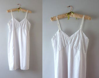 Vintage White Slip - 1970s White Cotton Blend Embroidered Slip Dress S/M