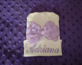 Adriana Personalized Hospital Hat New Born Hat 2-Ply Infant Cap - Newborn Beanie- Name or up to 3 initials