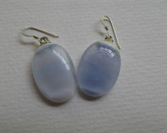 CB 73 White fused glass earrings