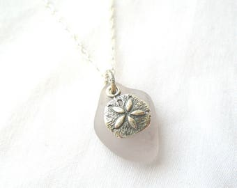 Rare Lavender Sea Glass Necklace with Sterling Silver Sand Dollar Charm