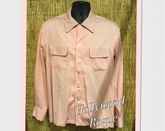 Vintage reproduction pink Hollywood Rogue gabardine shirt with top stitching detail Available in med, large, x large and xx large