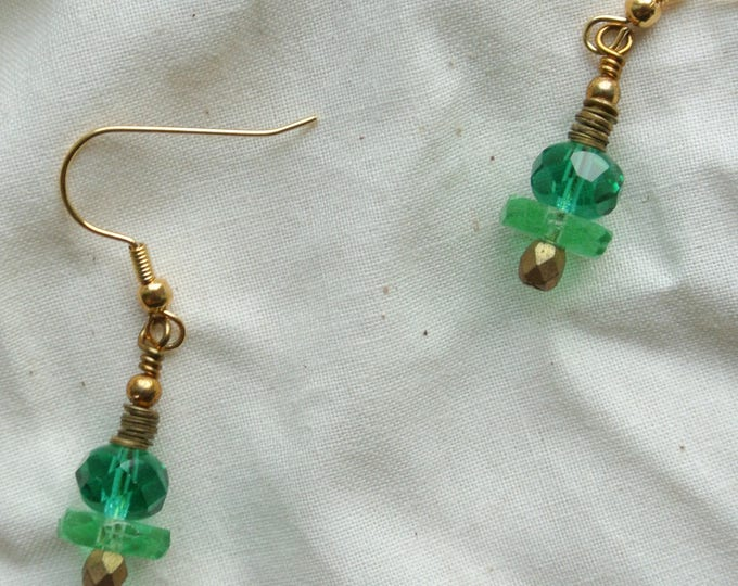 Featured listing image: Ocean Inspired Sea Green and Gold Earrings