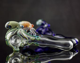 10 Octopus Large Spoon Pipes Wholesale / 10pc Octopus Pipes / Tobacco Pipe / Heady Glass / Pyrex Pipe / Custom Glass Pipes / Made to Order