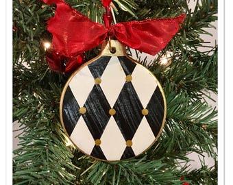 Whimsical Painted Ornament, Harlequin Ornament, first Christmas, Memory, New Home, Custom Theme ornament, custom sentiment