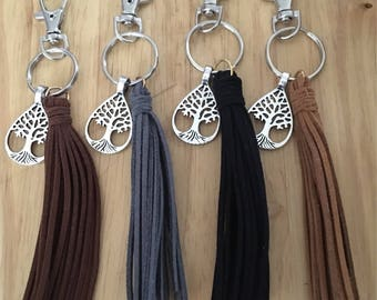 Leather Keychain, Metal Tree Charm Keychain