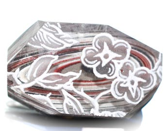 Button ~ Fordite or Detroit Agate and Glass with Decal, Laminated Together, Hand-Faceted - Made By KPHoppe - Medium