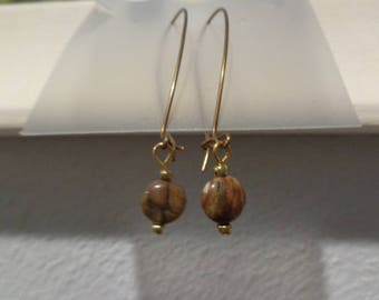 Brown stone dangle earrings