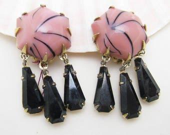 Vintage Long Earrings Pink Art Glass Rhinestone Jewelry E7103