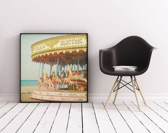 Carousel Nursery Art, Retro Wall Art, Girls Bedroom Art - Seaside Carousel