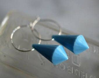 50%OFF Pale Blue Drop Earrings, Silver Hoops, Light Blue Dangles, Faceted Lucite