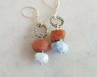 Peach Moonstone and Blue Agate Earrings, Sterling Silver Dangles, Chunky Faceted Gemstones