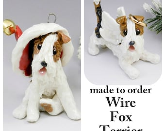Wire Fox Terrier Dog Made to Order Christmas Ornament Figurine Porcelain